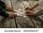 pile of puzzle pieces lying on... | Shutterstock . vector #340446437