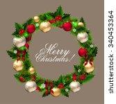 merry christmas card wreath... | Shutterstock .eps vector #340453364