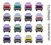 sixteen vehicles front view.... | Shutterstock .eps vector #340466711