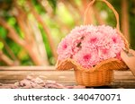 Gerbera Flowers In A Basket On...