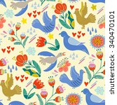 lovely pattern of birds and... | Shutterstock .eps vector #340470101