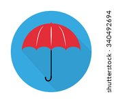 umbrella logo in flat design... | Shutterstock .eps vector #340492694