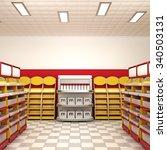 bright shop interior. 3d... | Shutterstock . vector #340503131