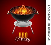 bbq party banner grill with... | Shutterstock .eps vector #340504775