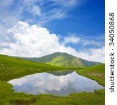 Beautiful landscape with mountain lake; - stock photo