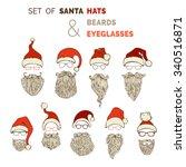 vector set of santa hats ...