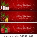set of christmas banners with...