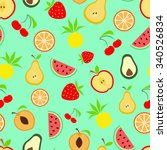 summer fruits  seamless... | Shutterstock .eps vector #340526834