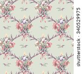 seamless pattern with christmas ... | Shutterstock . vector #340529975