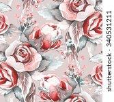roses seamless pattern | Shutterstock . vector #340531211