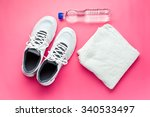 sport concept. bottle  shoes... | Shutterstock . vector #340533497
