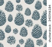 pine cones pattern. christmas... | Shutterstock .eps vector #340546184