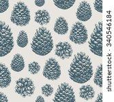 pine cones pattern. christmas... | Shutterstock .eps vector #340546184