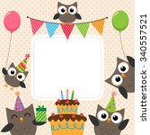 vector birthday party card with ... | Shutterstock .eps vector #340557521