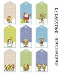 christmas cartoon tags | Shutterstock .eps vector #340559171