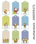 christmas cartoon tags   Shutterstock .eps vector #340559171