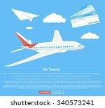 air travel concept flying plane.... | Shutterstock .eps vector #340573241