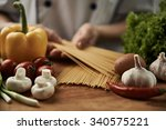 close up of professional chef... | Shutterstock . vector #340575221