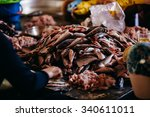 Small photo of Raw fish sliced and cut bilk at street local market in Asia, Vietnam