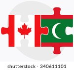 canada and maldives flags in... | Shutterstock .eps vector #340611101