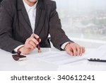 businesswoman notarize document ... | Shutterstock . vector #340612241