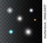 set of vector realistic glowing ... | Shutterstock .eps vector #340613357
