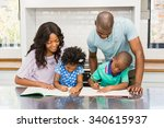 parents helping children doing... | Shutterstock . vector #340615937