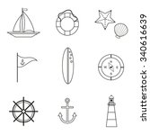 marine outline icons set. sea... | Shutterstock .eps vector #340616639