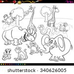 black and white cartoon vector... | Shutterstock .eps vector #340626005