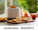 served table for breakfast with ... | Shutterstock . vector #340632371