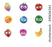 fruit faces   rainbow mango ... | Shutterstock .eps vector #340636361