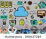 cloud computing network online... | Shutterstock . vector #340637285