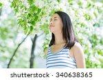 fashion girl outdoor portrait ... | Shutterstock . vector #340638365