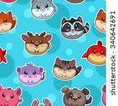 seamless pattern with cute... | Shutterstock . vector #340642691