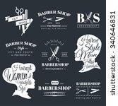 set of retro barber shop labels ... | Shutterstock .eps vector #340646831