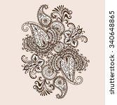 hand drawn henna mehndi... | Shutterstock .eps vector #340648865