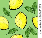seamless hand drawn lemon... | Shutterstock .eps vector #340649729