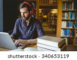 hipster student studying in... | Shutterstock . vector #340653119