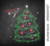 color chalk vector sketch of... | Shutterstock .eps vector #340653437