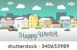 happy winter city illustration... | Shutterstock .eps vector #340653989