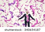 beautiful young woman in suit... | Shutterstock . vector #340654187