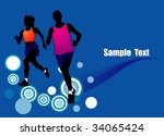women and man jogging run... | Shutterstock .eps vector #34065424