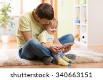 young man and his son kid... | Shutterstock . vector #340663151