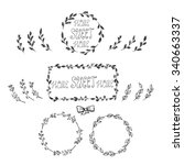 hand drawn floral frames with... | Shutterstock .eps vector #340663337