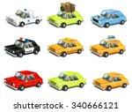 set cars city traffic. police ... | Shutterstock .eps vector #340666121