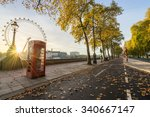 Red Telephone Booth And Autumn...