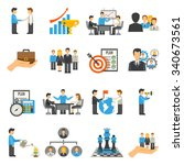 management flat icons set with... | Shutterstock .eps vector #340673561