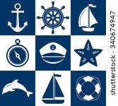 set of marine symbols. vector... | Shutterstock .eps vector #340674947