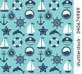 seamless marine pattern. sea... | Shutterstock .eps vector #340674989