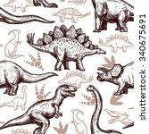 prehistoric dinosaurs reptiles... | Shutterstock .eps vector #340675691